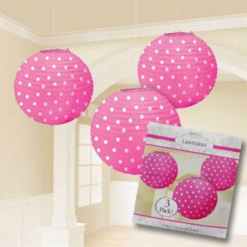 Pink Polka Dot  Paper Lanterns