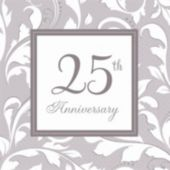 Silver Elegant 25th Beverage Napkins - 16 Pack