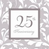 Silver Elegant 25th Lunch Napkins - 16 Pack