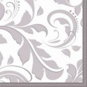 Silver Elegant Beverage Napkins - 16 Pack