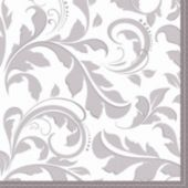 Silver Elegant Lunch Napkins - 16 Pack
