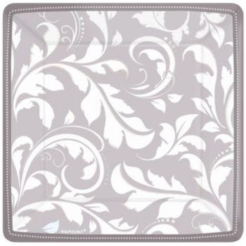 "Silver Elegant  7"" Square Plates"
