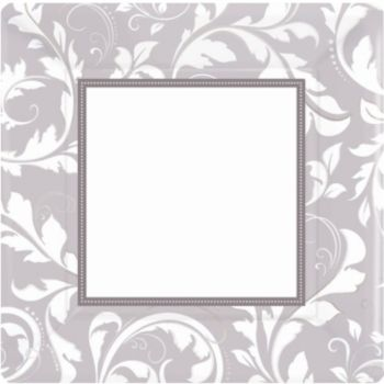 "Silver Elegant  10"" Square Plates"