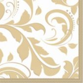 Gold Elegant Beverage Napkins - 16 Pack