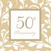 Gold Elegant 50th Beverage Napkins - 16 Pack