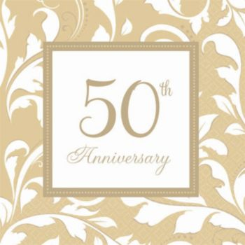 Gold Elegant 50th  Beverage Napkins
