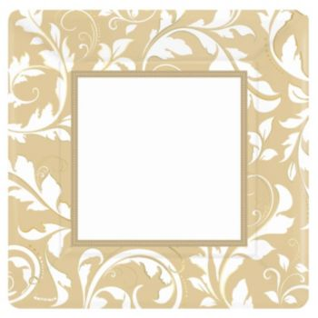 """Gold Elegant 10"""" Square Plates"""