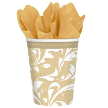 Gold Elegant  9 oz Cups