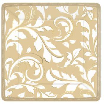 """Gold Elegant  7"""" Square Plates"""