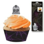 Gravestone Cupcake Toppers And Wrappers-12 Pack