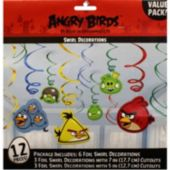 Angry Bird Swirl Decorations-12 Pack