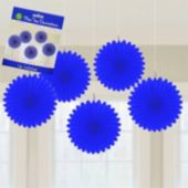 Royal Blue Mini Hanging Fan Decorations-5 Pack