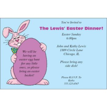 Smiling Easter Bunny Personalized Invitations
