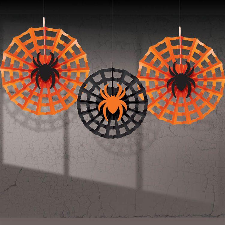 Spider Web Hanging Fan Decorations-3 Per Unit DEC291095UN