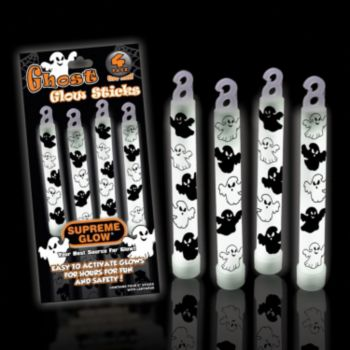 White Ghost Glow Sticks - 6 Inch, Retail 4 Pack