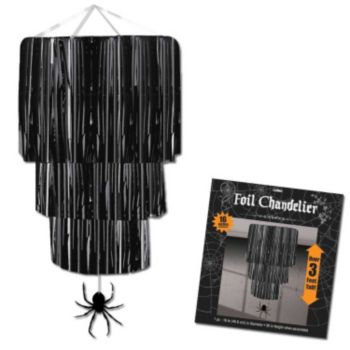 Black Foil Chandelier with Spider