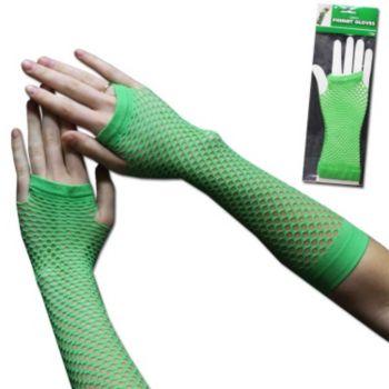 Green Fishnet Fingerless Gloves