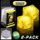 Yellow LED Lited Ice Cubes - 2 Pack