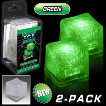 Green LED Lited Ice Cubes - 2 Pack