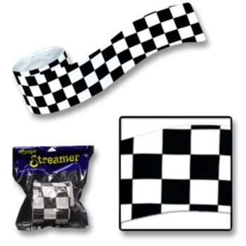 Black & White Check  Streamer Roll