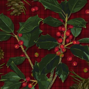 Plaid & Holly  Beverage Napkins