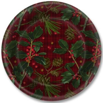 "Plaid & Holly  9"" Plates"
