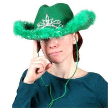 Light Up Green Cowgirl Hat With Marabou Trim