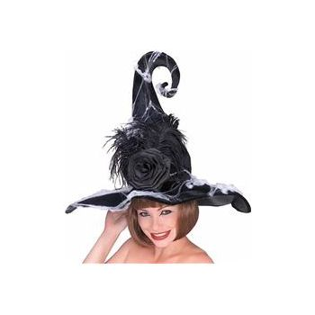 Black Rose Adult Witch Hat