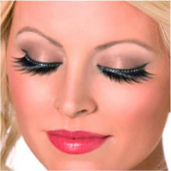Eyelashes With Black Crystals - 1 Pair