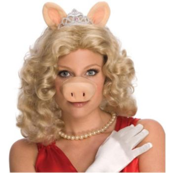 The Muppets Miss Piggy Wig Wears & Tiara Adult Costume