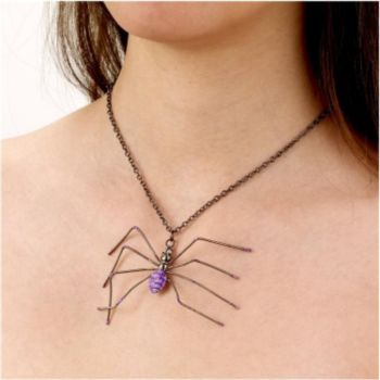 Spider Necklace Purple