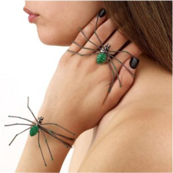 Green Spider Ring & Bracelet Set