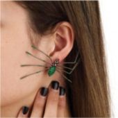 Green Spider Earrings