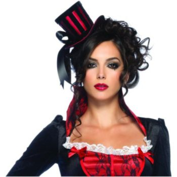 Red & Black Top Hat Fascinator