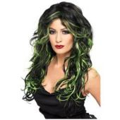 Black & Green Witchy Wig