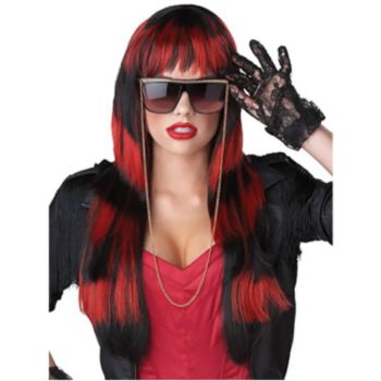 Untamed Black & Red Adult Wig