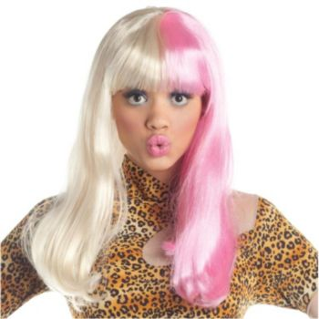Two Tone Diva Blonde  Pink Adult Wig