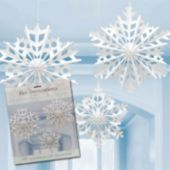 Snowflake Fan Decorations-3 Per Unit