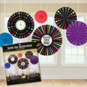 New Year's Multi Color Fans-6 Per Unit