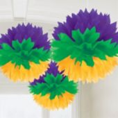 Mardi Gras Fluffy Decorations-3 Pack