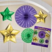 Mardi Gras Metallic Hanging Decorations-6 Pack
