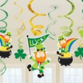 Irish Leprechaun Swirl Decorations-12 Pack