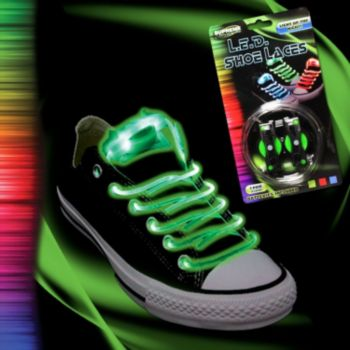 Flashing Green LED Shoe Laces