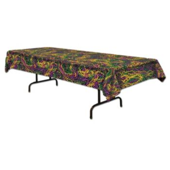 Mardi Gras Beads Plastic Table Cover