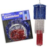 Red, Silver & Blue Fringe Chandelier