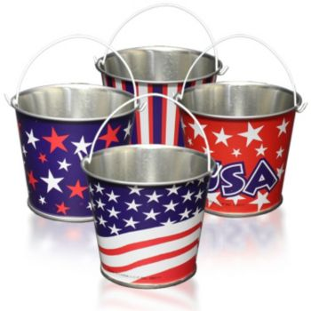 Patriotic Metal Mini  Buckets