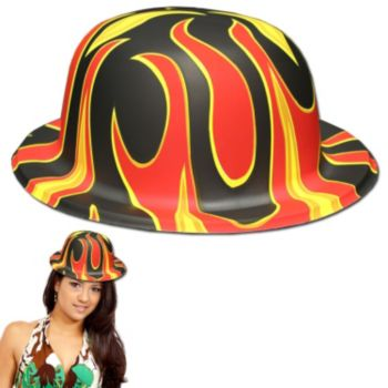 Flame Plastic Derby Hats - 12 Pack