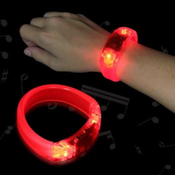 Red Sound Activated LED Bangle Bracelet - 8 Inch