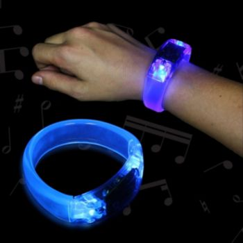 Blue Sound Activated LED Bangle Bracelet - 8 Inch