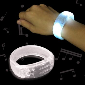White Sound Activated LED Bangle Bracelet - 8 Inch